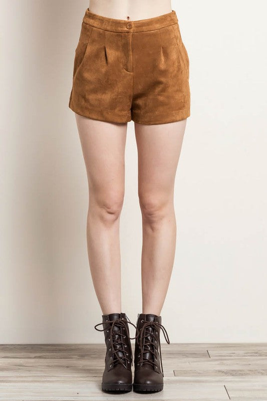 faux suede pocket shorts