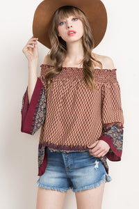 printed off the shoulder boho top