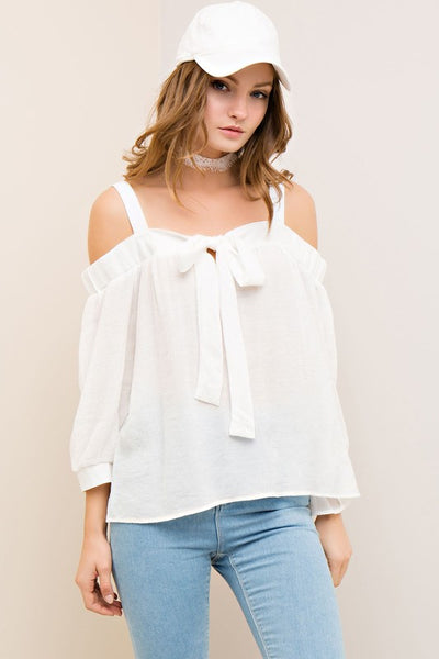 Solid off the shoulder blouse with shoulder straps - by Entro - available at rkcollections.myshopify.com - Off White / LARGE - Tops-Off The Shoulder