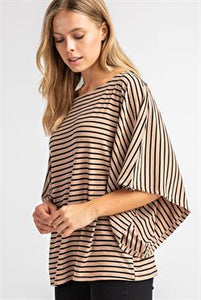 Striped Kimono Sleeves Knit Top