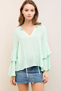 T7242-P-S-Entro-Solid v-silhouette neckline blouse with ruffle bell sleeves-RK Collections Boutique