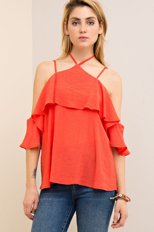 Solid textured halter neck cold shoulder top