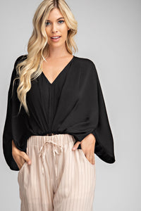 Pleated Drapey Bodysuit