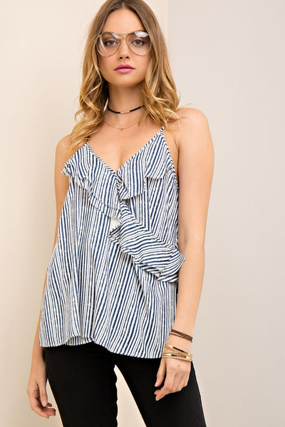 Striped camisole with wrap detail with ruffle trim