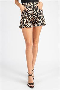 Tiger Print High Waist Shorts