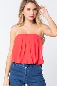 pleated chiffon strapless top