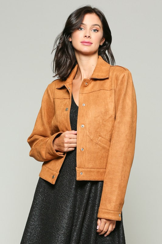 70670JG-1-Esley-suede button down jacket-RK Collections Boutique