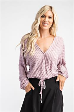 Surplice Ribbed Top With Drawstring
