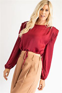 Shoulder Pad Satin Top With Drawstring