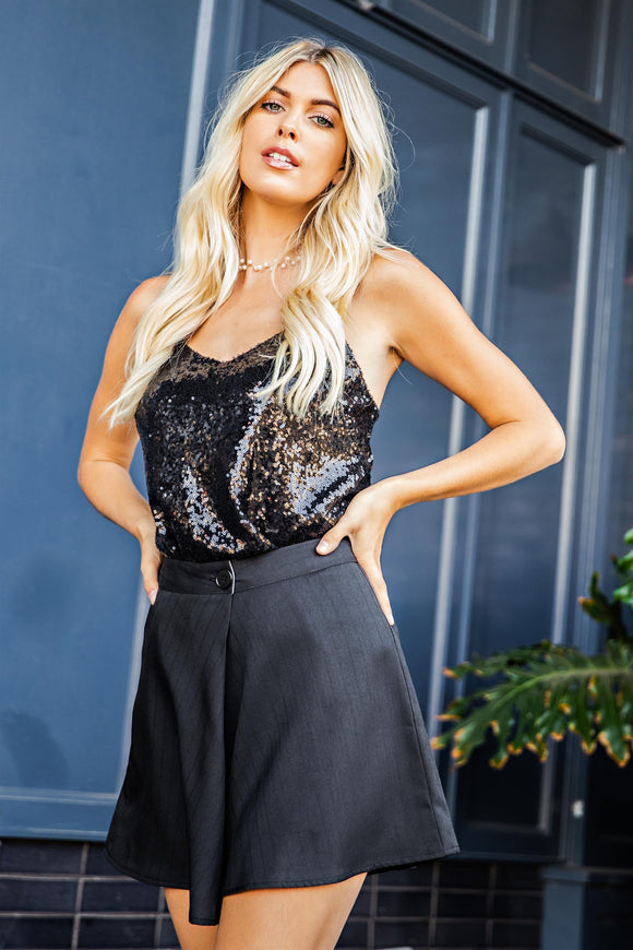 Sequin V-neck Cami Top