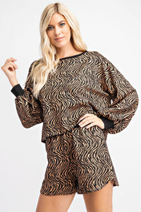 Tiger Print Pullover Knit Top