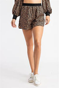 Tiger Print Knit Shorts