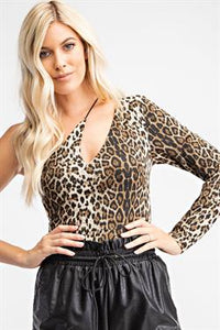 Leopard Asymmetrical One-Shoulder Bodysuit