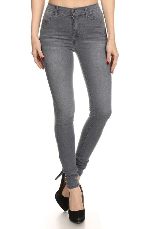 1753-Encore Jeans-High waist dark grey skinny jean-RK Collections Boutique