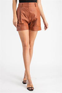 Leather High-rise Shorts