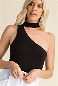 Choker neck one shoulder bodysuit
