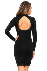 Open Back Long Sleeve Bodycon Dress