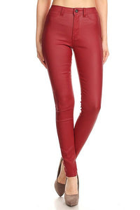 High waist faux leather stretch skinny jean