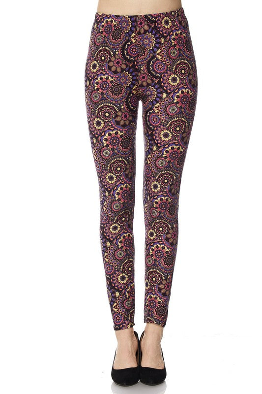 Multi Print Brushed Ankle Leggings