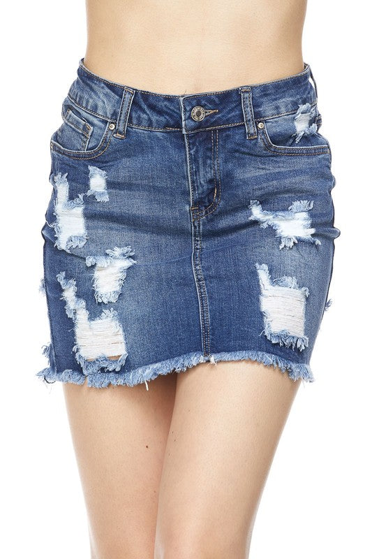 08K-90114-4-Wax Jean-distressed denim skirt-RK Collections Boutique