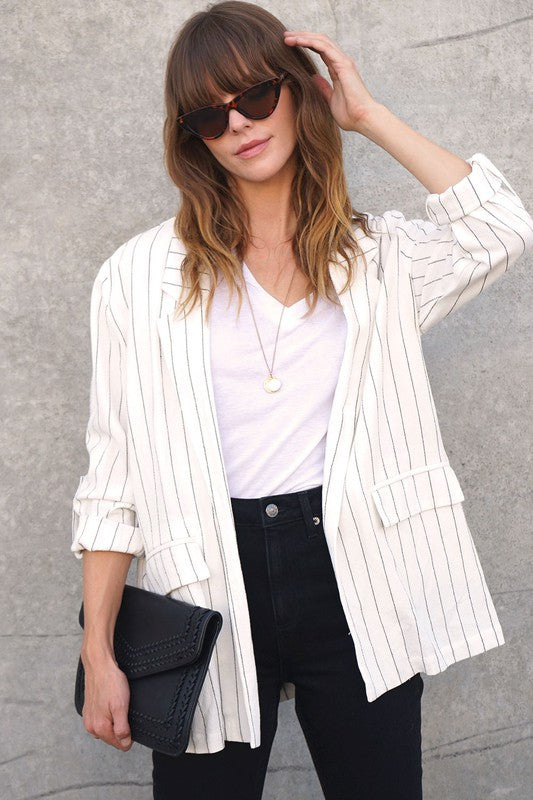 3/4 Sleeve Striped Blazer Jacket