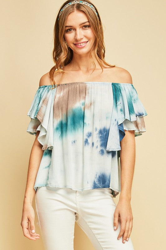 Tie dye off the shoulder top with ruffle sleeves
