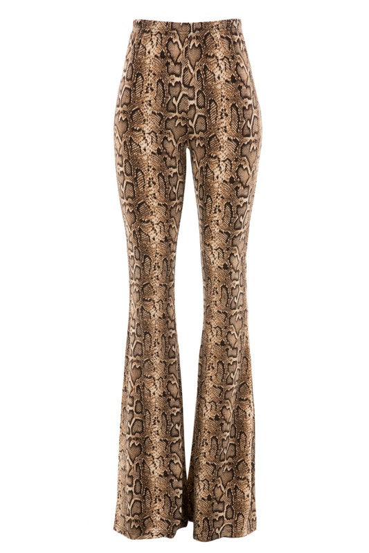 snakeskin knit bell bottom pant