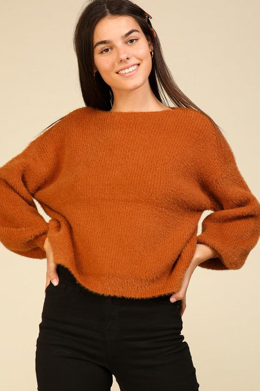 Fuzzy soft balloon sleeve sweater
