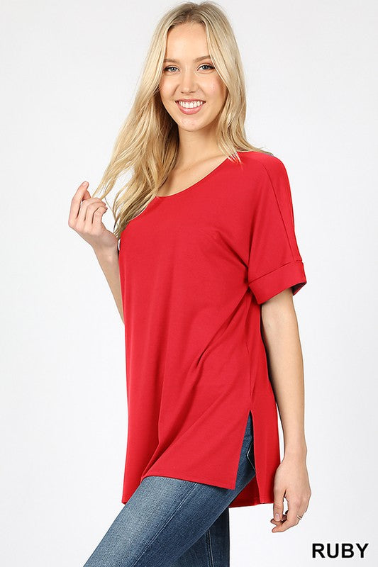 Premium jersey rolled sleeve hi lo tee - by Zenana - available at rkcollections.myshopify.com -  - Tops-Short Sleeve