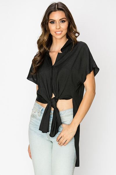 split side collar button down woven tunic