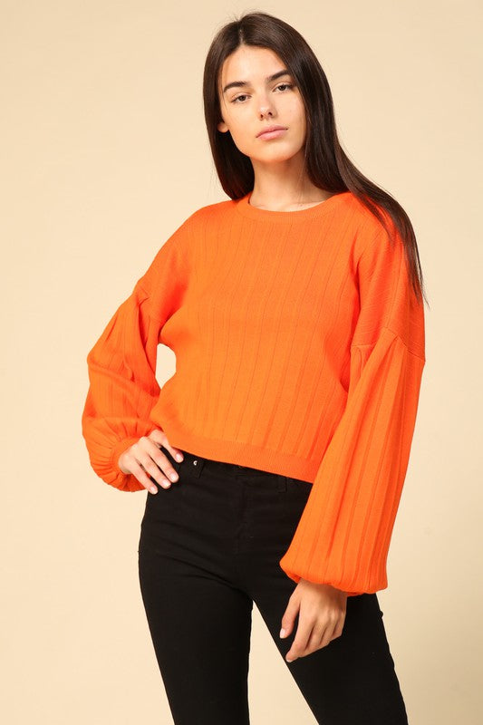AT03410-1-1-Lumiere-Long Sleeve Balloon Sleeve Knit Sweater-RK Collections Boutique
