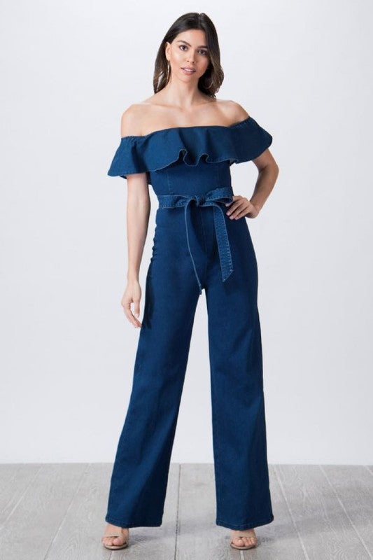 Off-the-shoulder denim jumpsuit
