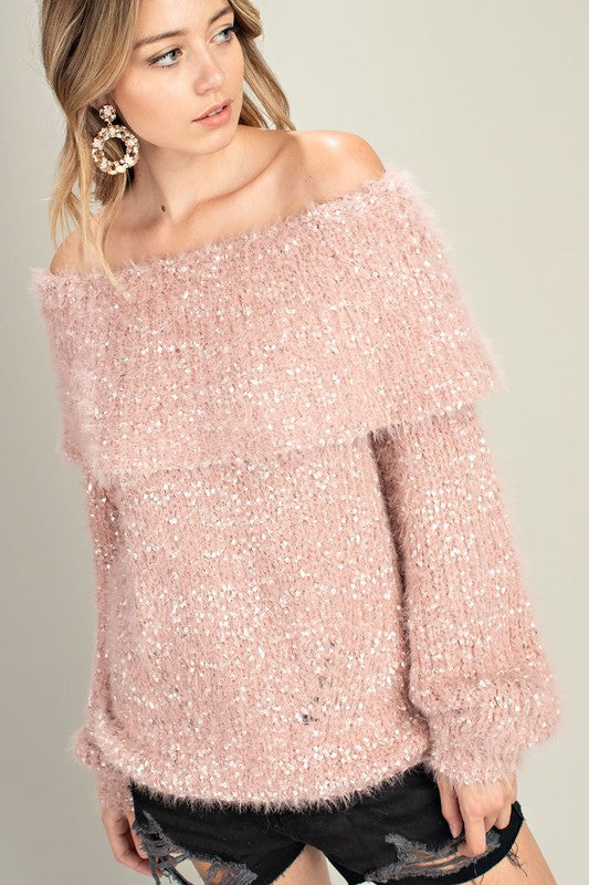 J20175-1-Mittoshop-fuzzy fold over off the shoulder sweater-RK Collections Boutique