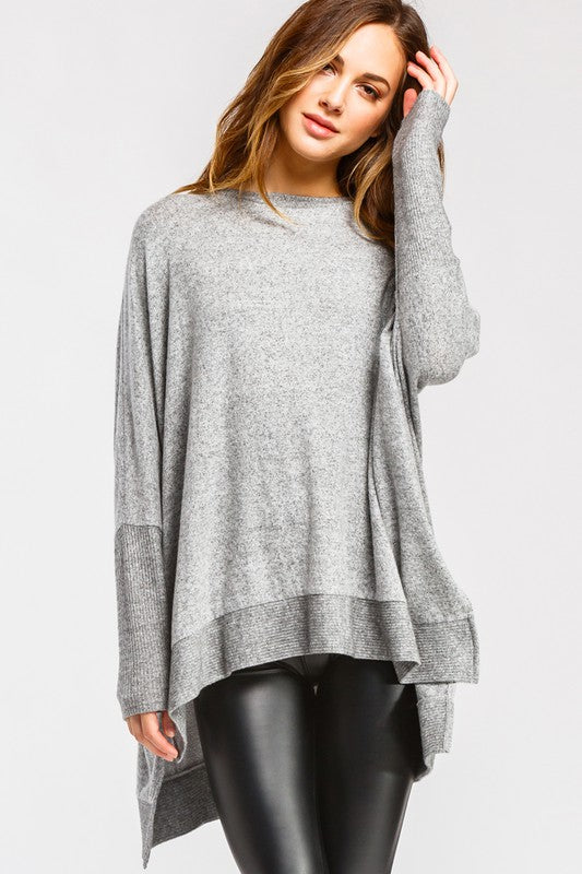 T20602-HG-S-Cherish USA-Long Sleeves High-Low Brushed Intermingle Knit Top-RK Collections Boutique