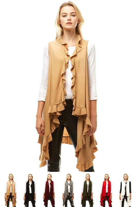 Solid Ruffled Vest Shawl