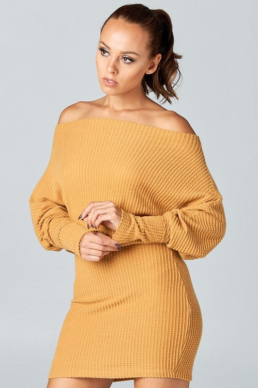Waffle knit off the shoulder dress