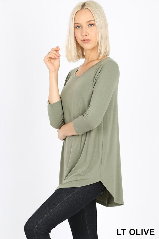 RT-2102P-I-LO-S-Zenana-premium jersey 3/4 sleeve round neck & hem top-RK Collections Boutique