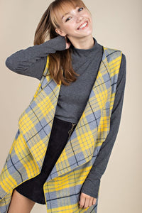 -Mittoshop-brushed long line plaid vest-RK Collections Boutique