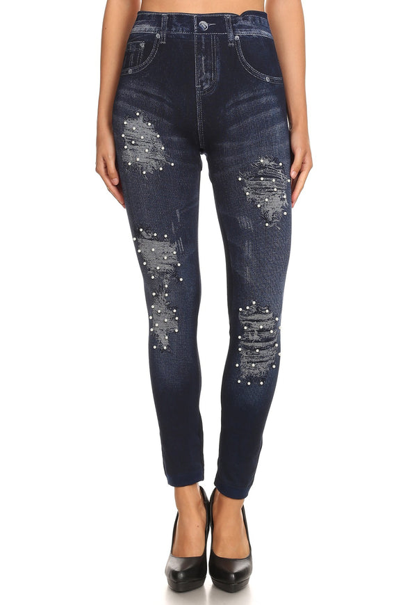 Printed distressed jegging with pearls