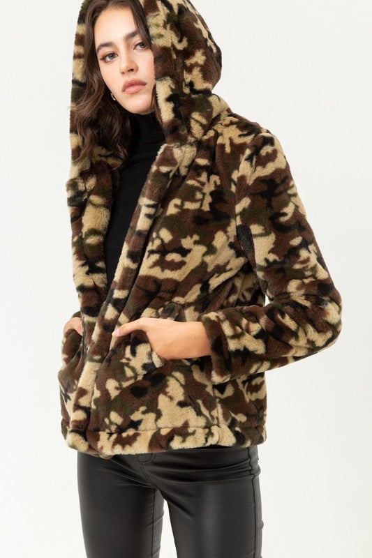 Camo Print Short Fur Jacket