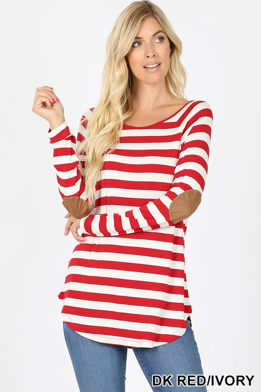 Stripe long sleeve tee with elbow patches