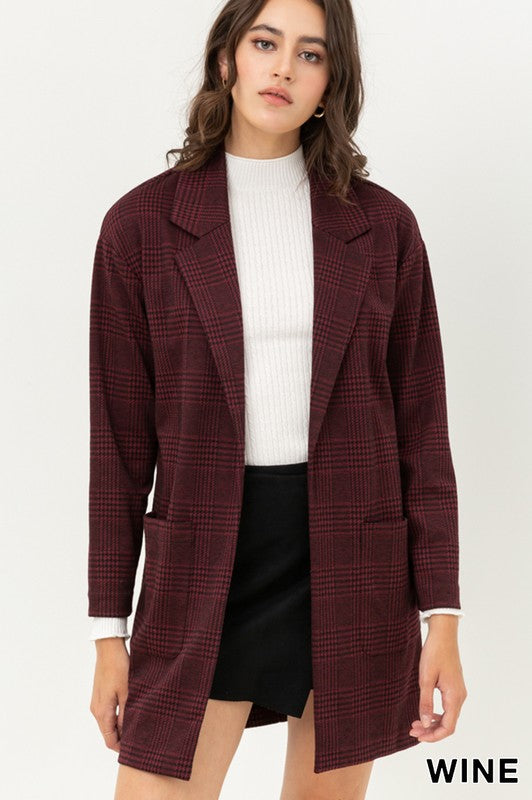 8877JY-W-S-Love Tree-Long Sleeve Check Pattern Blazer-RK Collections Boutique