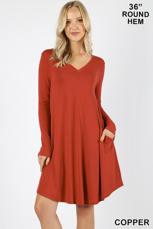 RD-1403P-C-S-Zenana-long sleeve round hem a-line v-neck dress-RK Collections Boutique