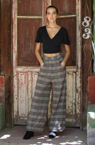 B3289-RC55-1-Angie-Plaid wide leg pants-RK Collections Boutique