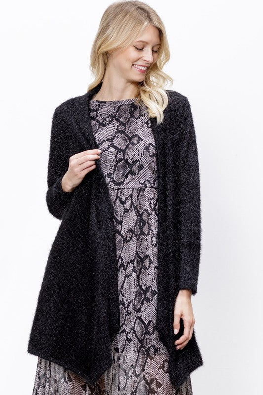 Lurex fluffy cardigan with pockets