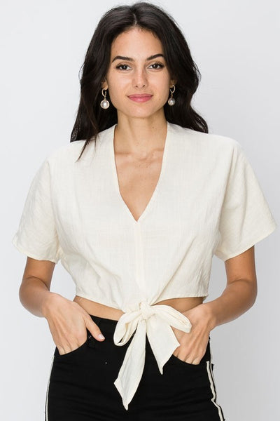 v-neck woven linen crop top with tie up front