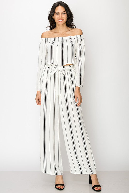 Striped wide leg high waist pants by Favlux