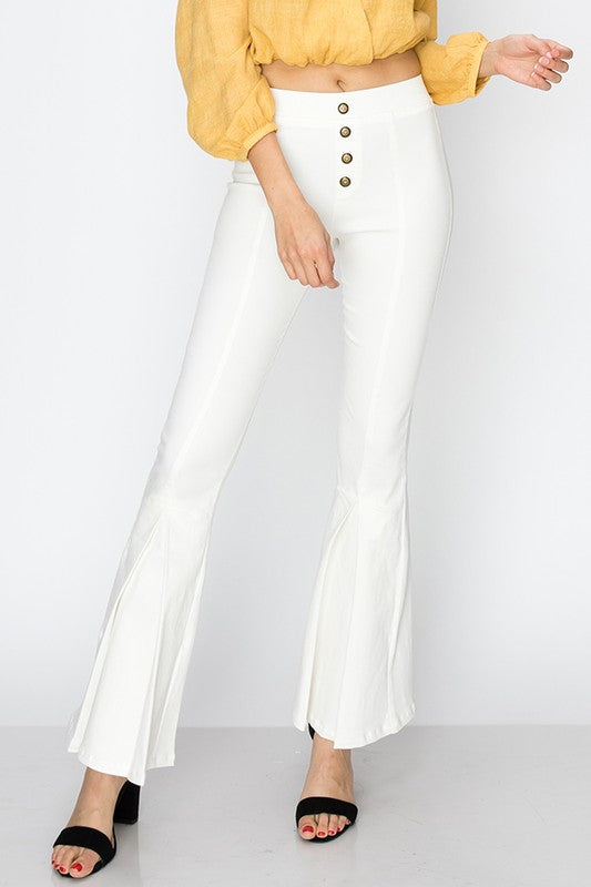 Stretch flare pants with button front detail - by Favlux - available at rkcollections.myshopify.com - White / LARGE - Pants