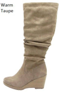 Scrunch suede wedge boot