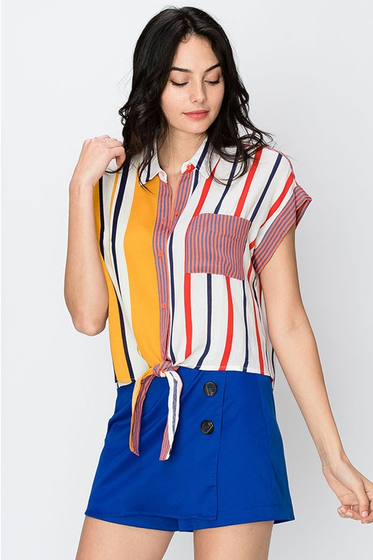 tie font woven stripe colorblock button up